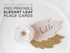DIY Free Printables Bridal Shower Elegant Leaf Placecards