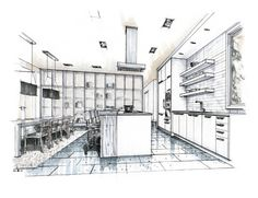 Hand Drawn Marker Rendering of Kitchen, by Mick Ricereto