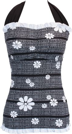 Ruffle Square Halter - Black and White Flower Loops - FINAL SALE - DM Fashion