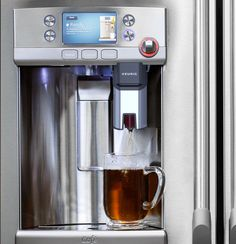 GE has really come through with innovative designs in their appliances.  This refrigerator has a single-cup coffee maker in it -- what more can you ask for in a fridge?  And American-made!  Proud of you, GE!