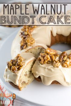 Maple Walnut Bundt Cake vanilla bundt cake filled with maple and walnut a thick layer of maple frosting topped with homemade maple glazed walnut It s the perfect fall cake bunsenburnerbakery bundtcake cake maplewalnut fallbaking Bunt Cakes, Cupcake Cakes, Cupcakes, Just Desserts, Delicious Desserts, Maple Cake, Maple Walnut Cake Recipe, Walnut Recipes, Baking Recipes
