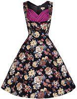 Lindy Bop 'Ophelia' Vintage 50's Inspired Floral Print Swing Dress