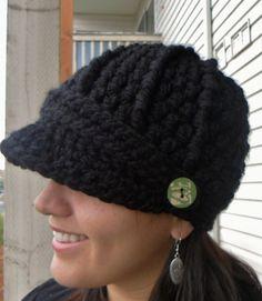 Crochet Newsboy Hat Black You Pick Size by SoLaynaInspirations, $28.00 #newsboyhatcrochet
