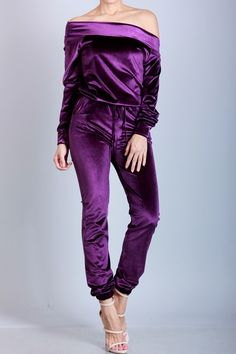 FEATURES: - Superior quality velvet jumpsuit- Off the shoulder neckline- Long sleeves- Elastic waist with drawstring- Jogger bottom style pants- Rayon Off The Shoulder Jumper, Off Shoulder Jumpsuit, Velvet Jumpsuit, Velvet Fashion, Purple Velvet, Weekend Style, Material Girls, Jumpers For Women, Joggers