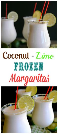 Coconut Lime Frozen Margaritas combine the best of sweet and sour into a delicious drink. Enjoy with your favorite Mexican meal, for Cinco de Mayo or time on the patio. Coconut Lime Frozen Margaritas combine the best of sweet and so Fun Cocktails, Summer Drinks, Cocktail Drinks, Fun Drinks, Cocktail Recipes, Beverages, Drink Recipes, Mixed Drinks, Non Alcoholic Drinks For Cinco De Mayo