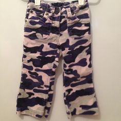 Purple Camo print is Way cute! Another adorable Boden design! Cord like pull up pants. Great condition!