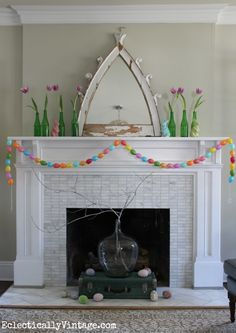 Spring Mantel Decorating Ideas - this is stunning!  See how to make the egg garland eclecticallyvintage.com