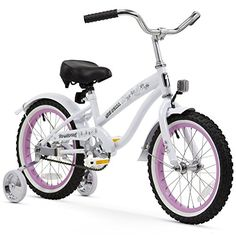Firmstrong Girls Bella Bicycle with Training Wheels 16Inch WhitePink Rims ** Check this awesome product by going to the link at the image. (This is an affiliate link) #KidsBikes