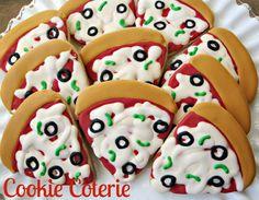 Teenage Mutant Ninja Turtles TMNJ Pizza Party Decorated Cookie Favors One Dozen by CookieCoterie, Cookies Cupcakes, Cupcake Cookies, Sugar Cookies, Cookies Et Biscuits, Turtle Birthday Parties, Birthday Boys, Birthday Ideas, Cookie Pizza, Pizza Cookies