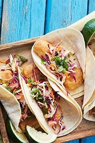 Crispy Baked Fish Tacos with Cabbage Slaw. Yummy, fresh, and easy dinner. Fish Recipes, Seafood Recipes, Mexican Food Recipes, Cooking Recipes, Cooking Fish, Cooking Courses, Cooking Kale, Cooking Bacon, Tart Recipes
