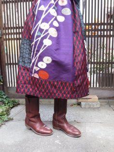 銘仙リメイク☆綺麗な紫をポイントに赤黒で74cm丈