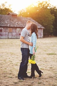 Sunset, a barn, and yellow flowers--engagement photo at Fort Steilacoom Park, WA. Barn Photography, Wedding Photography Inspiration, Engagement Pictures, Engagement Session, Instagram Mockup, Wedding Photos, Wedding Ideas, Cute Poses, Sunset Photos