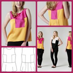 How to Sew a Two-Tone Singlet Blouse | FREE PDF Sewing Pattern - sew-whats-new.com