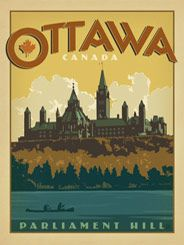Canada: Ottawa - Our latest series of classic travel poster art is called the WorldTravel Poster Collection. We were inspired by vintage travel prints from the Golden Age of Poster Design (a glorious period spanning the late-1800s to the mid-1900s.) So we set out to create a collection of brand new international prints with a bold and adventurous feel.