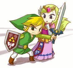 The Legend of Zelda: The Wind Waker and The Legend of Zelda: Spirit Tracks, Toon Link and Toon Princess Zelda / 「「僕が守るよ」」/「ハル」のイラスト [pixiv]