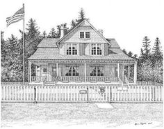 """""""Heceta Head Bed  Breakfast"""" - Original pen  ink rendering. The Heceta Head Lighthouse and Light Keeper's house are circa 1894. Both are listed on the National Register of Historic Places. The lighthouse is still a working lighthouse, and the Light Keeper's House is now the B  B. Located near Yachats, Oregon.  I'll soon be adding the lighthouse to my Lighthouse Board.  Note Card Package - $10.95 (10 cards/envelopes per pkg.)  11 x 14 Matted Print - $45.00"""