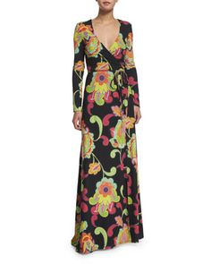 Long-Sleeve Wrap Maxi Dress, Multi Colors by Trina Turk at Neiman Marcus.