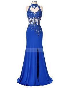 Formal Evening Dress Trumpet   Mermaid High Neck Floor-length Lace   Satin  with Appliques   Beading   Split Front   Sequins 3a61393b880c