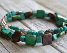 Hip Bauble-Two Strand Beaded Bracelet. Turquoise Jewelry. Turquoise Bracelet. Beaded Bracelet. Silver Jewelry. Boho Bracelet. Purple Jewelry - Edit Listing - Etsy