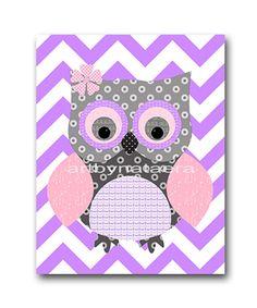 Owl Decor Owl Nursery Baby Girl Nursery Art Nursery wall art baby nursery decor kids room decor Kids Art Girl Print 8x10 owl rose purple on Etsy, $14.00