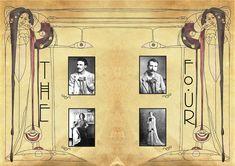 The Glasgow Four: Charles Rennie Mackintosh (1868-1928), Margaret Macdonald Mackintosh (1865-1933), Frances Macdonald MacNair (1873-1921) & James Herbert MacNair (1868-1955).
