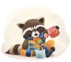 Rocket and Baby Groot.
