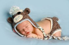 Sock Monkey Set in Baby Blue by MadhatterknitsCo on Etsy Brown Socks, Blue Socks, Baby Halloween Costumes, Baby Costumes, Newborn Photo Props, Newborn Photos, Sock Monkey Hat, Baby Boy Photography, Baby Boy Newborn