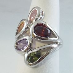 Ladies BIG Multi Color CZ 18K White Gold Overlay Ring~Size 71/2- Free Gift Box