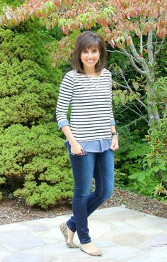 I love this striped shirt with chambray hem from Stitchfix. I paired it with skinny jeans and leopard flats.