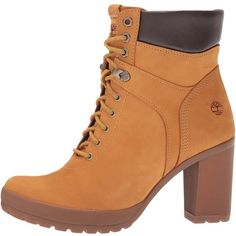 Timberland Camdale Field Boot (Wheat Nubuck) Women's Lace-up Boots ($140) ❤ liked on Polyvore featuring shoes, boots, ankle boots, bootie boots, laced up ankle boots, short high heel boots and long boots