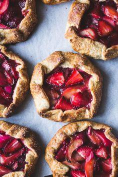 Strawberry Rhubarb Rose Galettes {gluten-free}