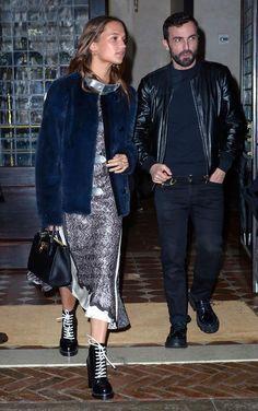 Alicia Vikander wearing Louis Vuitton Fall 2016 Dress, Louis Vuitton Fall 2016 Combat Boots and Louis Vuitton City Steamer Mini