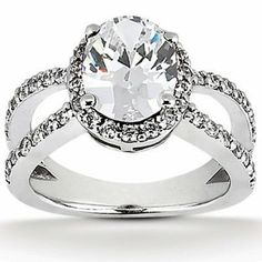 Split Shank, Pave Set, Halo Diamond Engagement Ring Setting