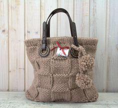 Boho Bag - Camel'scolor - Shoulder Bag Knit - Soft yarn - Natural leather straps