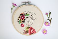Embroidery Hoop Art, Embroidered Illustration of a Girl, Hand Embroidered#embroidery #embroideryhoopart #hoopart #embroideryillustration #illustration #textileart #bohoart #hipsterart #hipster #boho #modernembroiedery #homedecor #customembroidery #embroideryabstractportrait #portraits #kidroomdecor #abstractembroidery #abstractportrait #beard #flowersinbeard #flowersinhair #matryoshka