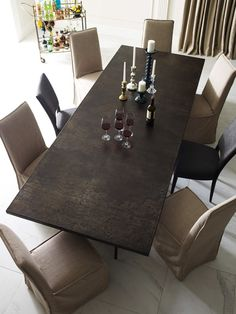 The Roman Dining Table from Four Hands Furniture defies both gravity and expectation, transforming industrial materials into light, elegant luxury. Industrial Style Furniture, Geometric Coffee Table, Rustic Dining Table, Coffee Table Inspiration, Sideboard Grey, Furniture, Chic Furniture, Dining, Dining Table