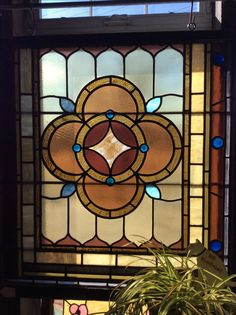 Extra large antique stained glass window