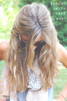 Hair Spray - spray a little sea salt and coconut oil mixed with water in your hair for an instant beach hair look!