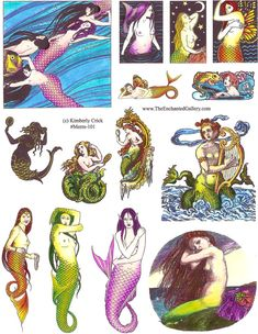 mermaid rubber stamps mermaids fantasy art unmounted stamp set Gustav Klimt, vintage victorian and artwork by Kimberly Crick from www.TheEnchantedGallery.com