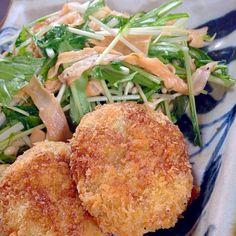 あな吉さんのレシピ本から。 - 27件のもぐもぐ - ベジメンチカツ&水菜とお麩のサラダ by chie519