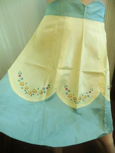 Vintage 30 40s Handpainted Apron, Jadeite Green Yellow, Painted Flowers, Frilly Apron, Depression Era Apron, Kitchen Accessory, Unused mint by TomCatBazaar on Etsy