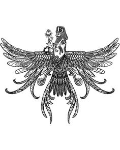 Unique one of a kind design - Black and White - Asho Farohar / Farvahar Using Zentangle patterns and doodles. Zoroastrian - Parsi - Persian Symbol