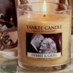Cute as decoration or wedding favors. Choose your picture and scent of candle!
