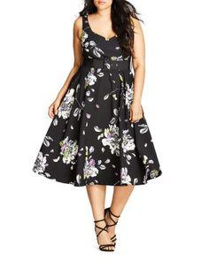 City Chic Floral Sketch Dress | Bloomingdale's