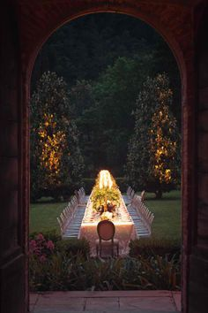 {evening backyard dinner party}