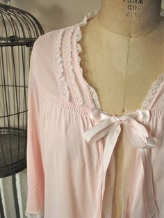 Lorraine | Vintage 1960s Pink Nylon Bed Jacket with Lace Trim and Satin Tie Closure by BobbinsNBombshells on Etsy