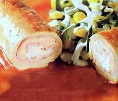 Rollitos de Pollo y Queso con Salsa de Cebolla para Diabeticos