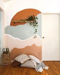 Boho Room, New Room, Room Inspiration, Diy Home Decor, Bedroom Decor, House Design, Interior Design, Mural Wall, Grey Yellow