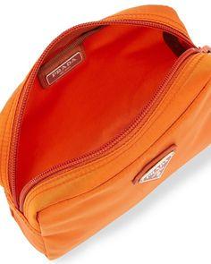 b98732695da0 Prada Vela Square Nylon Beauty Bag Cosmetic Makeup Case Orange Papaya  Arancio     See