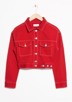 & Other Stories image 1 of Cropped Denim Jacket in Red